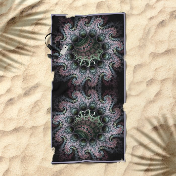 Magical dragon spirals mandala Beach Towel