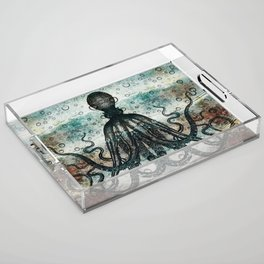 Octopus In Stormy Water Acrylic Tray