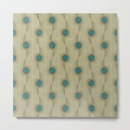 Abstract Peacock Feathers Teal Turquoise Circles Pattern Modern - Corbin Henry Metal Print