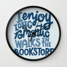 Long Romantic Walks Bookstore BLUE Wall Clock