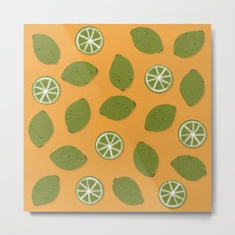 Lime Design - Fruit, Yellow and Green, Lime Pattern Metal Print