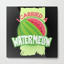 Watermelon Pregnancy Metal Print