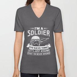 I'm a Soldier US Army Navy America Guns Pistols Rifle Design Unisex V-Neck