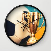 world cup Wall Clocks featuring world cup trophy by franckreporter
