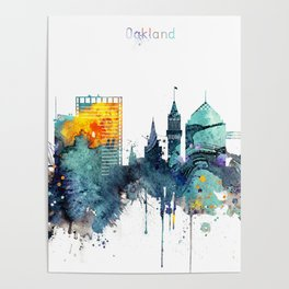 Watercolor Oakland skyline cityscape Poster