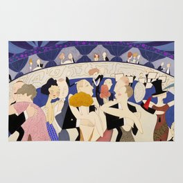 Dancing couples in jazz age nightclub Rug