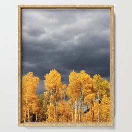 Golden Aspens and an Impending Storm Serving Tray