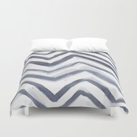 water colour Duvet Covers featuring Black Water Colour Chevrons by Stephen John Bryde
