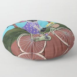 Siamese Cat Spring Bicycle Ride Floor Pillow