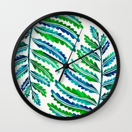 Fern Leaf – Blue & Green Palette Wall Clock
