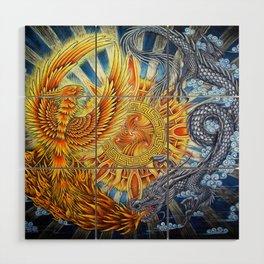 Chinese Phoenix and Dragon Mandala Wood Wall Art