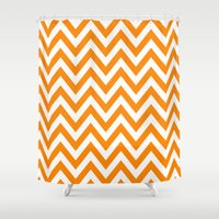 tina crespo Shower Curtains featuring TINA CHEVRON 1 by JUNE blossom