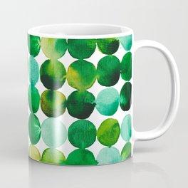 Green Watercolor Circles Pattern Coffee Mug