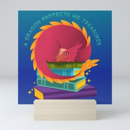 A Dragon Protects His Treasure blue version Mini Art Print