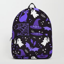 Halloween party illustrations purple, black Backpack