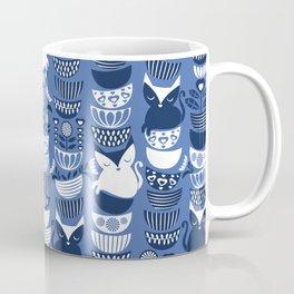 Swedish folk cats I // Indigo blue background Coffee Mug