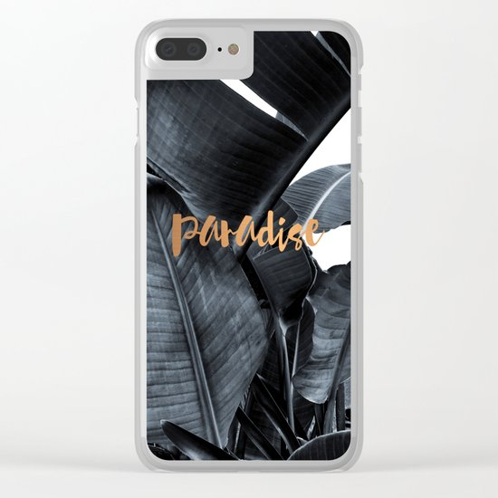 Tropical paradise - charcoal copper Clear iPhone Case