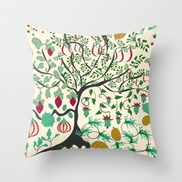 Fairy seamless pattern garden with plants, tree and flowers Throw Pillow