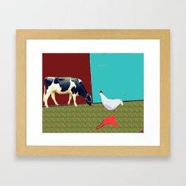 Donald meets a cow Framed Art Print