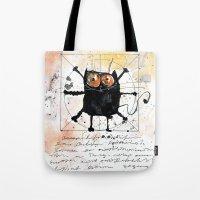 da vinci Tote Bags featuring Kot da Vinci by Katja Main