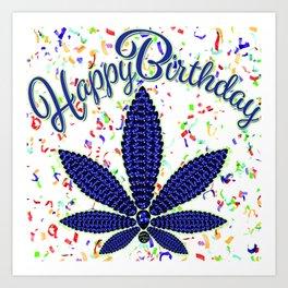 Happy Birthday Cannabis and Confetti Art Print