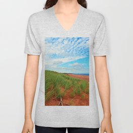Red Dunes and Beach Grass Unisex V-Neck