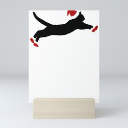 Christmas Pets Cat Leaping Silhouette in Santa Hat and Santa Boots Christmas Cats Mini Art Print