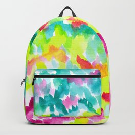 Colorful watercolor forest. Bright and colorful watercolor texture. Backpack
