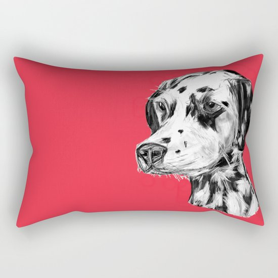 Dalmatian Red  Rectangular Pillow