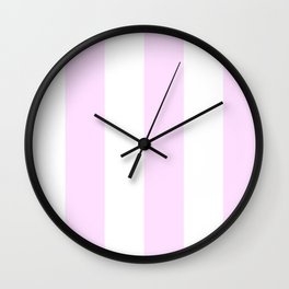 Wide Vertical Stripes - White and Pastel Violet Wall Clock