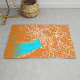 Annecy, France, Gold, Blue, City, Map Rug