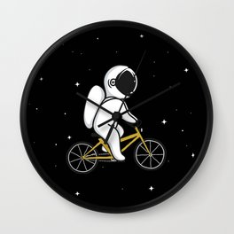 Funny Astronaut Rides on Bicycle Black Wall Clock