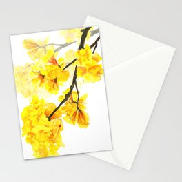 yellow trumpet trees watercolor yellow roble flowers yellow Tabebuia Stationery Cards