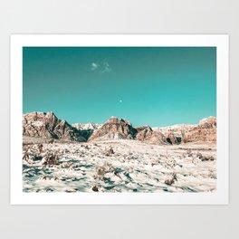 Vintage Picture Desert Snow // Winter Teal Blue Sky Red Rock Canyon Wilderness Park Photograph Art Print