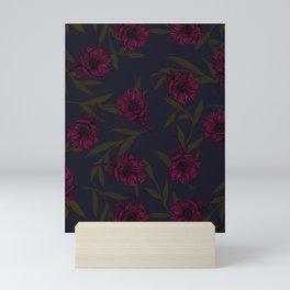 Anemone Field Pink & Dark Blue Mini Art Print