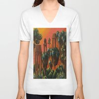 oasis V-neck T-shirts featuring Unsettled Oasis by bmeow