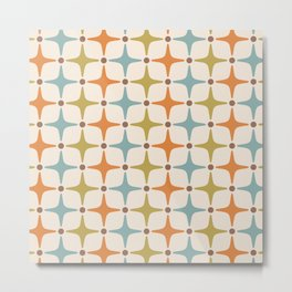 Mid Century Modern Star Pattern 817 Orange Brown Blue and Olive Green Metal Print
