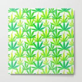 Watercolor Marijuana Leaf Metal Print