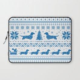 Love Joy Peace Wiener Dogs Blue Pattern Laptop Sleeve