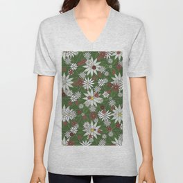 White and Red Flower Pattern on Green Background Unisex V-Neck