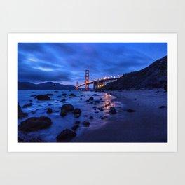 Golden Gate Bridge During Blue Hour Art Print