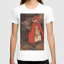 Little Red Riding Hood and the Big Bad Wolf portrait painting by Jesse Wilcox Smith T-shirt