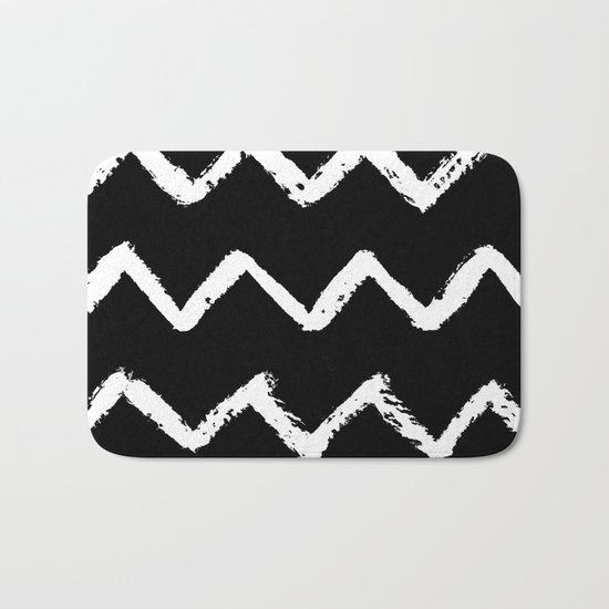 Chevron Stripes White on Black Bath Mat