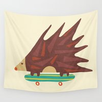 skateboard Wall Tapestries featuring Hedgehog in hair raising speed by Picomodi
