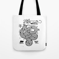 snake Tote Bags featuring Snake  by Borneo Modofoker