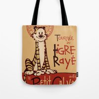 hobbes Tote Bags featuring Le Tigre Rayé by Arinesart