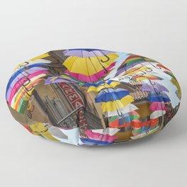 Colorful umbrella street in Italy Floor Pillow