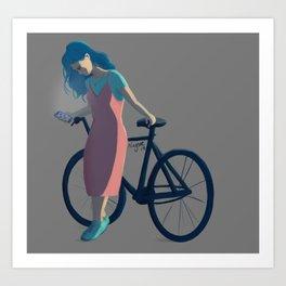 Bicycle Blue Hair Girl Art Print