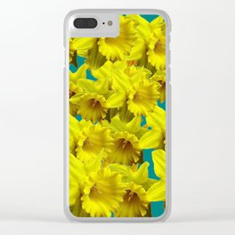 YELLOW SPRING DAFFODILS ON TEAL COLOR ART Clear iPhone Case