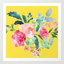 Yellow Watercolor Floral Pink Peonies Art Print